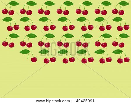 Cherry pattern. Seamless texture with ripe red cherries. Vector illustration.