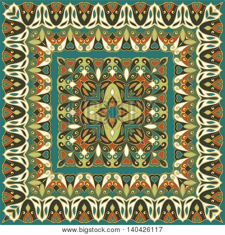 Colored handkerchief with abstract pattern silk scarf or shawl.
