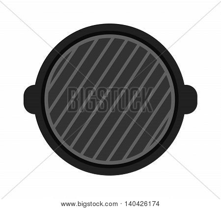 Barbecue grill isolated on white background. Top view and grill isolated vector black tool. Grill isolated cooking tool and barbecue grill isolated device steel household accessory.
