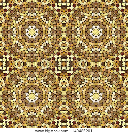 Seamless abstract mosaic ornament. Yellow colors. Texture of ceramic tiles.