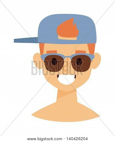 Summer happy boy vector illustration, man summer boy in cap portrait. Happy summer boy character and beach boy vector illustration. Beach boy summer boy sea water vacation. Little happy boy face