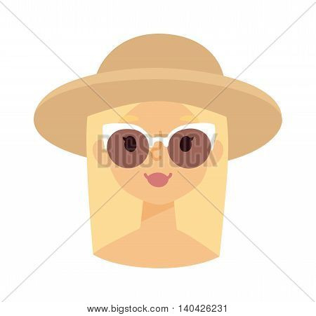 Summer happy girl vector illustration, man summer girl in hat portrait. Happy summer girl character and beach girl vector illustration. Summer girl face sea water vacation. Little happy girl face