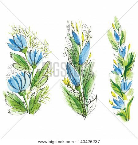 watercolor flowers with leaves of different varieties