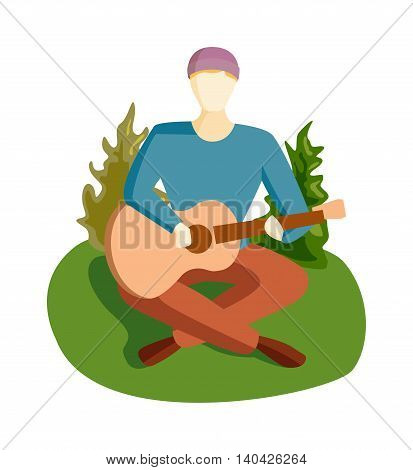 Romantic young man playing an acoustic guitar song, sitting on green grass wooden floor. Young man playing guitar and sings song. Guitar song vector illustration camping man character.