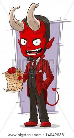 A vector illustration of cartoon sly devil with contract