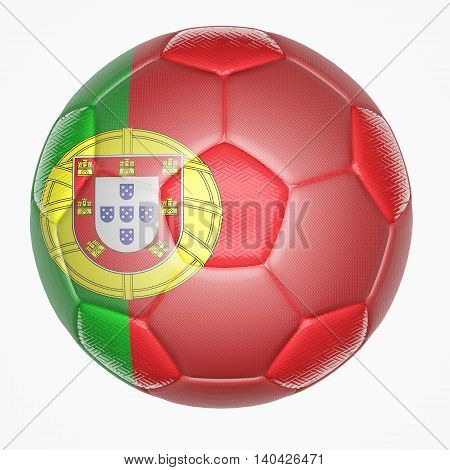 3D illustration of Soccer ball mapping with Portugal flag