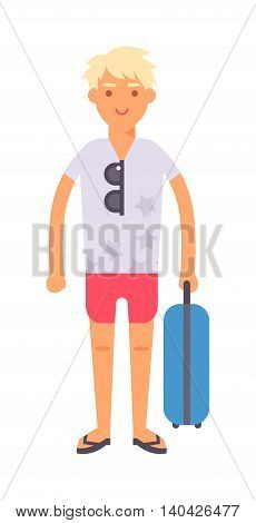 Vacation travel boy vacation isolated, teen man alone travel concept vector. Vacation travel boy character andf cute vacation travel boy fashion hipster style.