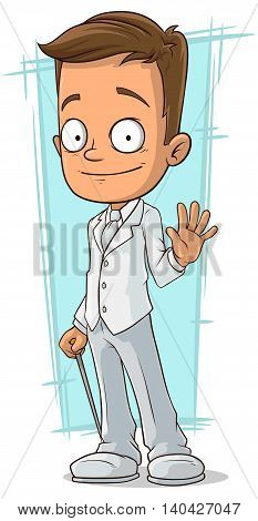 A vector illustration of cartoon smiling bridegroom in white suit