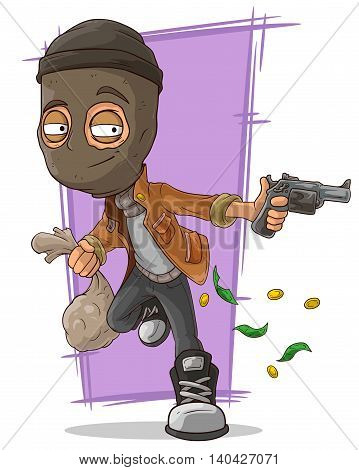 A vector illustration of cartoon thief in black mask