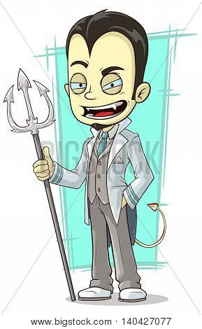 A vector illustration of cartoon white devil with sharp trident