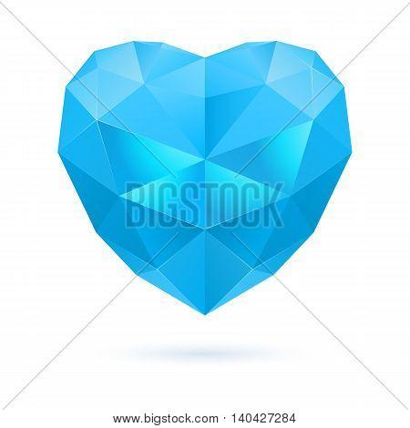 Blue polygonal heart on white background. Sapphire or aquamarine stone
