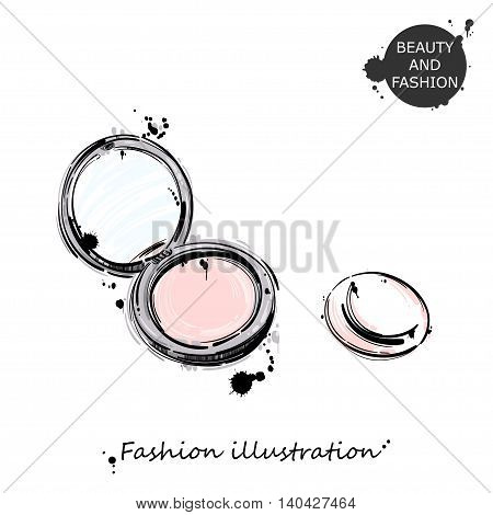 Vector illustration of a powder. Fashion illustration. Beauty and fashion. Glamour.