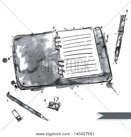 Vector set of working tools: notebook pen pencil eraser paper clips. Office table. Business. Isolated on white background.