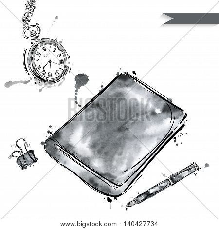 Vector set of working tools: notebook pen paper clip a pocket watch. Office table. Business. Isolated on white background.