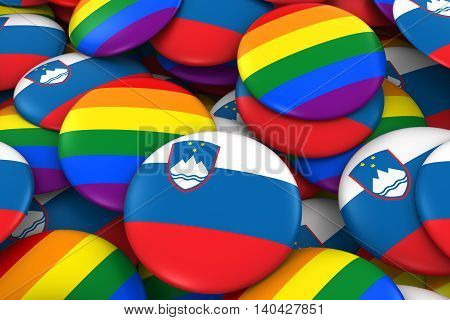 Slovenia Gay Rights Concept - Slovenian Flag And Gay Pride Badges 3D Illustration
