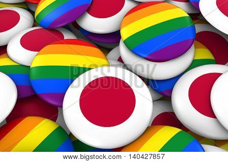 Japan Gay Rights Concept - Japanese Flag And Gay Pride Badges 3D Illustration