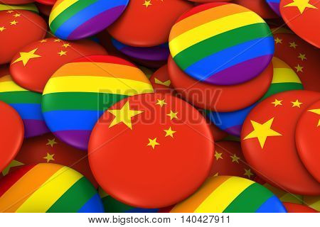 China Gay Rights Concept - Chinese Flag And Gay Pride Badges 3D Illustration