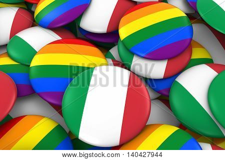Italy Gay Rights Concept - Italian Flag And Gay Pride Badges 3D Illustration