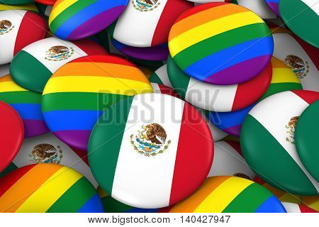 Mexico Gay Rights Concept - Mexican Flag And Gay Pride Badges 3D Illustration