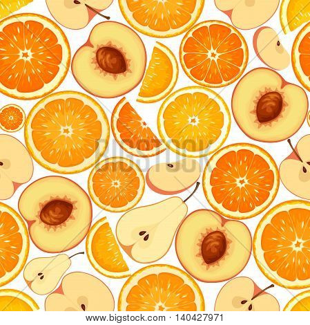 Vector seamless background with various orange fruit slices.