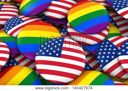United States Gay Rights Concept - Us Flag And Gay Pride Badges 3D Illustration