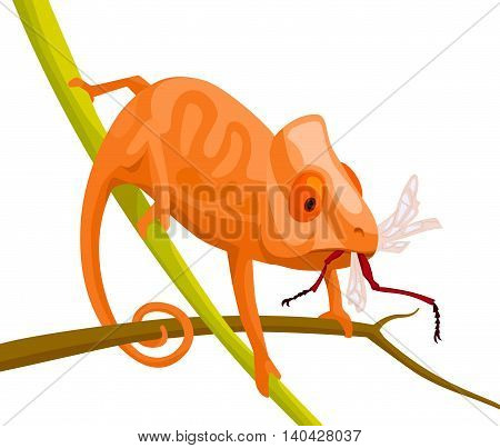 cute cartoon chameleon sitting on branches eats a winged insect