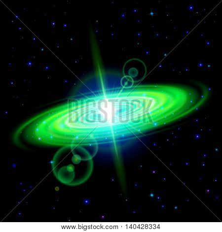 Space background. Green galaxy with bright flare among stars in dark universe