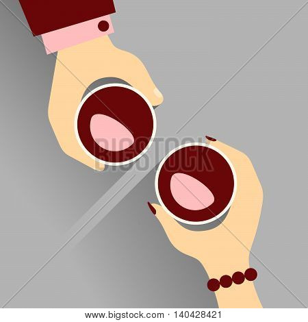 Date. Vector Illustration Of Hands Of A Woman And A Man Out For A Date, Enjoying Their Wines.