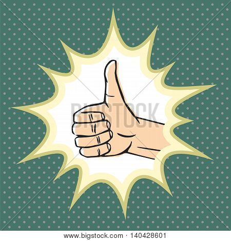 Thumbs up gesture (like symbol). Hand sign with pop explosion. Vector illustration