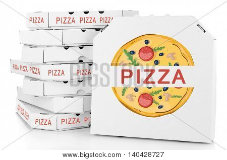 Pizza boxes isolated on white