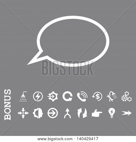 Hint Cloud glyph icon. Image style is a flat iconic symbol, white color, gray background.