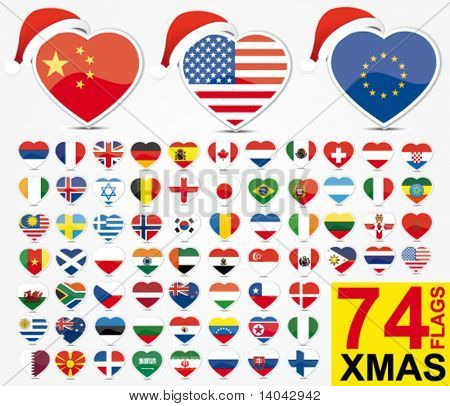 set of heart flags with a christmas hat