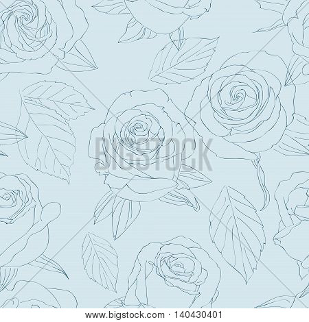 Seamless pattern with roses. Art vector illustration vector