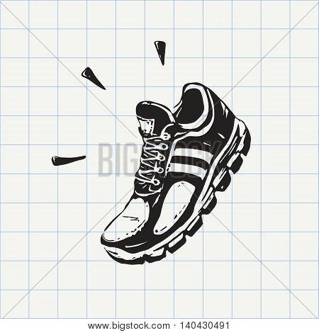 Sport shoe sketch in vector. Hand drawn doodle sign