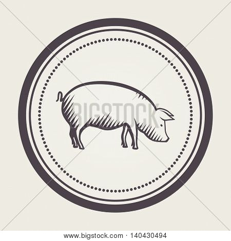 Stamp with pig symbol. Farm animal emblem in vector