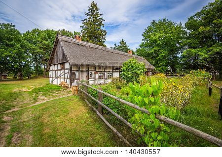 Old wooden house in Kluki Poland Europe.