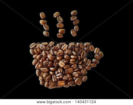 roasted coffee beans coffee cup shape isolated on black background