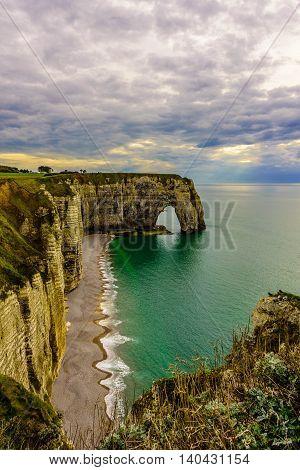 Etretat Cliffs , Côte d'Aval, côte d'Albâtre in Normandy, France.
