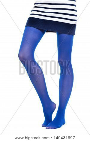 Female fashion. Woman long legs and color blue stockings isolated on white background
