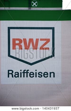 MAINZ, GERMANY - JULY 14: The facade of the warehouse Raiffeisen RWZ a company for agricultural products and fertilizers on July 14, 2016 in Mainz.