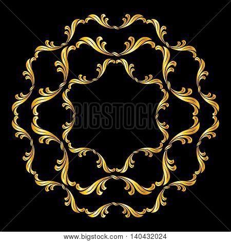 Ornate floral pattern in golden shades on black background
