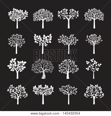 Set of white vector trees. Illustration and Graphic Element.