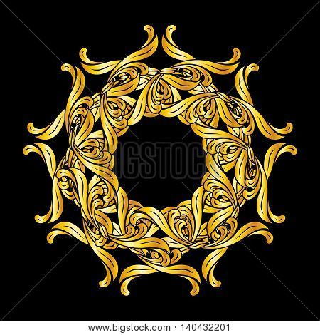 Ornate design element in floral style and golden shades on black background