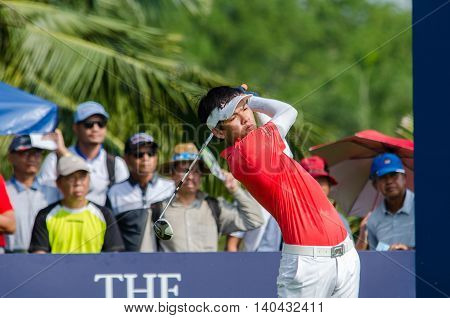 CHONBURI - DECEMBER 13 : Phachara Khongwatmai of Thailand player in Thailand Golf Championship 2015 at Amata Spring Country Club on December 13 2015 in Chonburi Thailand.