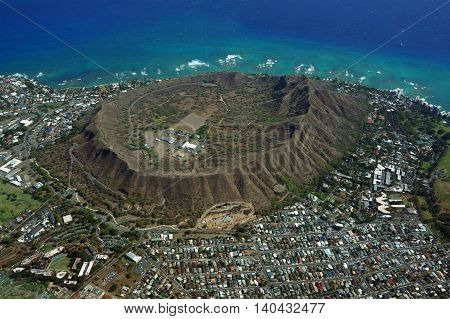 Aerial view of Diamondhead Kapahulu Kahala KCC Pacific ocean on Oahu Hawaii. April 2016.
