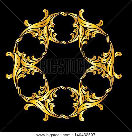 Ornate gold flower. Illustration on black background