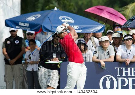 CHONBURI - DECEMBER 13 : Yusaku Miyazato of Japan player in Thailand Golf Championship 2015 at Amata Spring Country Club on December 13 2015 in Chonburi Thailand.