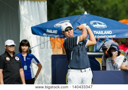 CHONBURI - DECEMBER 13 : Byeonghun An of South Korea player in Thailand Golf Championship 2015 at Amata Spring Country Club on December 13 2015 in Chonburi Thailand.