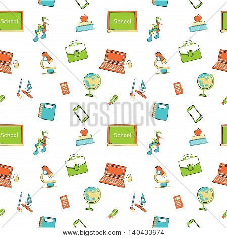 Illustration in the style of a flat design on the theme of school and school supplies.