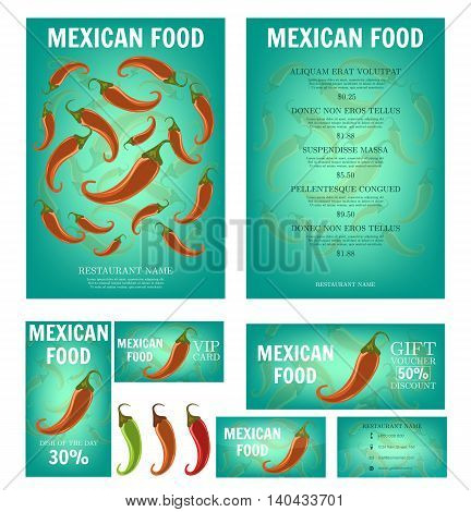 Mexican Food. Mexican restaurant menu template. Red Hot Chili Peppers. Business card, flyer, vip card and gift voucher. Vector design.